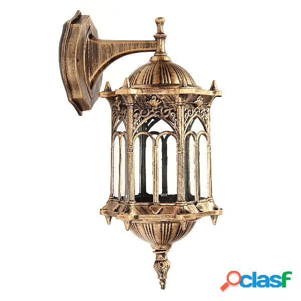Outdoor bronze antique exterior wall light fixture lanterna de vidro de alumínio lanterna de jardim