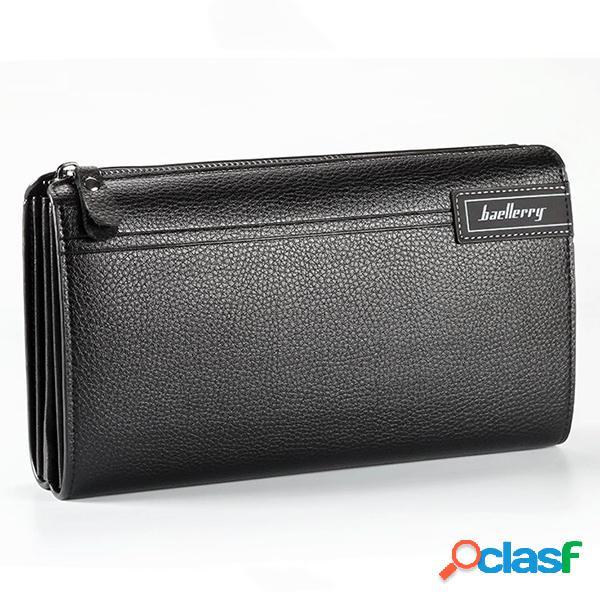 Pu leather business casual zipper clutch bag 4 cash carteira de bolso para homens