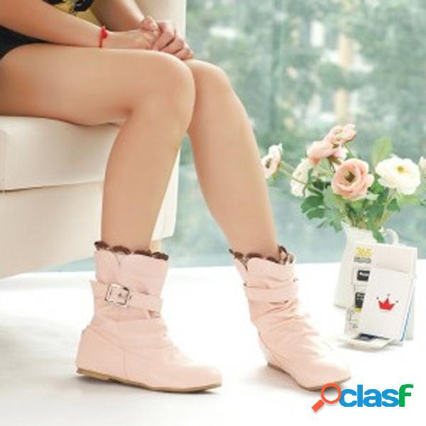 Big size lace heel buckle aumentando slip on mid calf flat boots