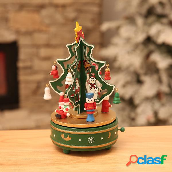 Árvore de natal caixa de música rotação de caixa de música caixa de música de maquinismo de relojoaria xmas pattern nice christmas gift