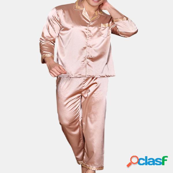 Conjunto de pijamas estampado doméstico masculino seda suave respirável
