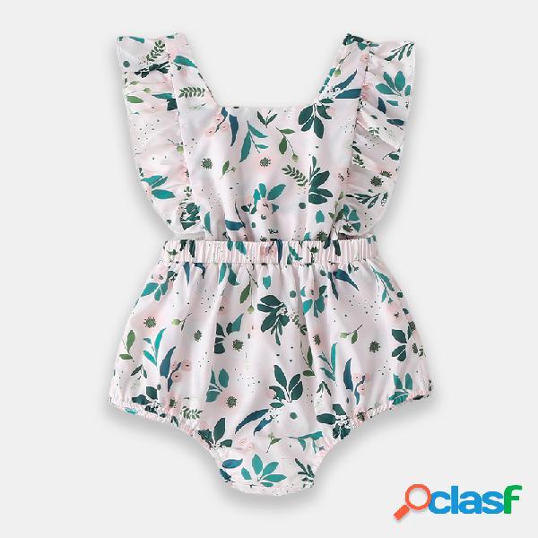 Bebê flor verde mangas macacão casual para 0-24m