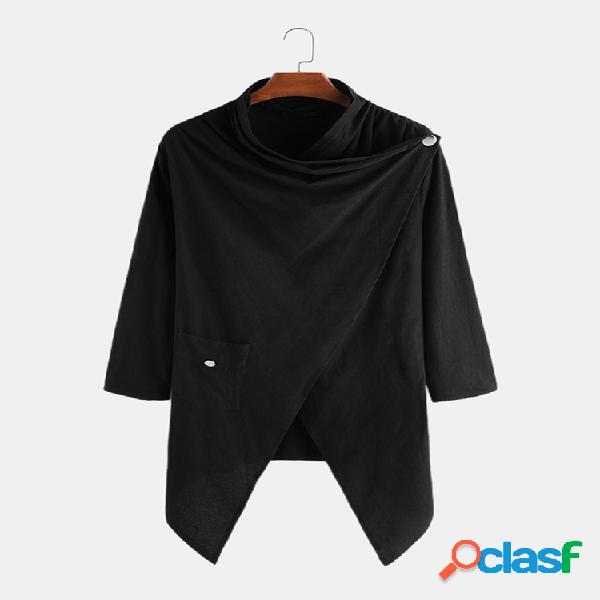 Blusa irregular masculina lisa 100% algodão com gola xale cardigans longos