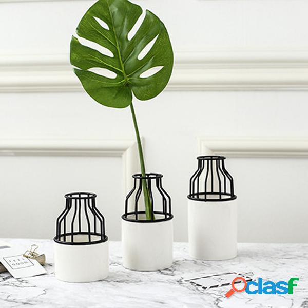 Festa em casa rack de metal preto cerâmico vaso de flores planta suculenta stand holder