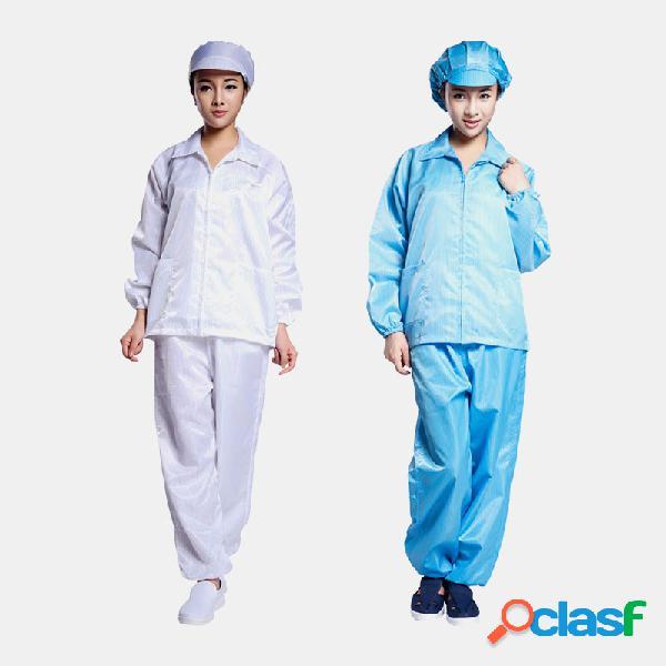 Roupa de trabalho antiestática, casaco azul branco, roupa de trabalho limpa fato de proteção com chapéu