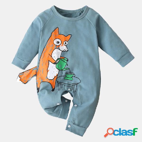 Bebê bonito dos desenhos animados impressão soft mangas compridas macacão de pijama casual para 0-18m