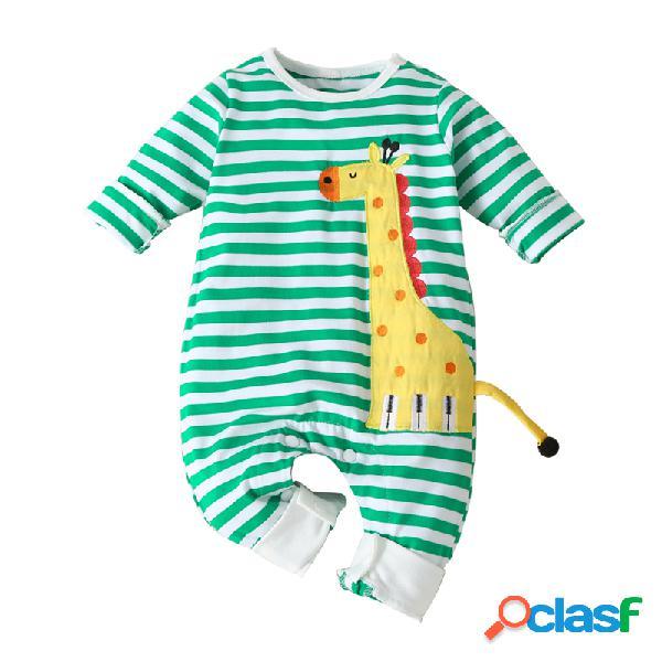 Bebê girafa imprimir listrado mangas compridas pijamas macacão para 0-18m