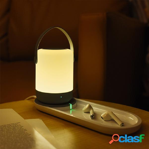 Portátil led usb night light touch operação suporte 10 w qi carregamento sem fio decoração de casa luz noturna