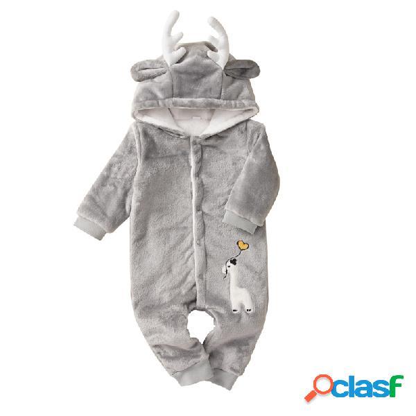 Bebê alces com capuz mangas compridas engrossar macacão quente para 0-24m