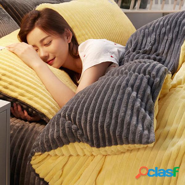 Conjunto de roupa de cama de inverno de veludo cotelê 4 unidades espessas e frente e verso soft cama queen size king size
