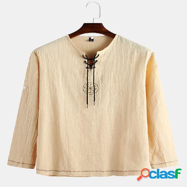 Bordado masculino padrão liso manga comprida com cordão henley camisa