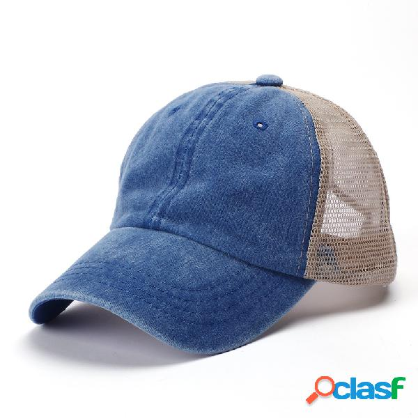 Boné de beisebol lavado algodão multicolorido cor sólida ajustável pára-sol chapéu