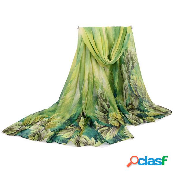 180cm lenço coral de voile flor estampada longo casual suave