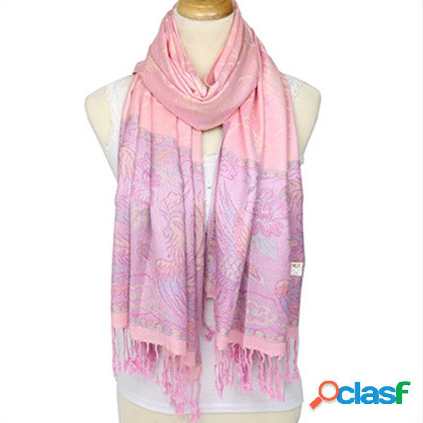 Casaco feminino jacquard cotton scarf brand tassel scarves mulheres retro fashion winter wrap scarf