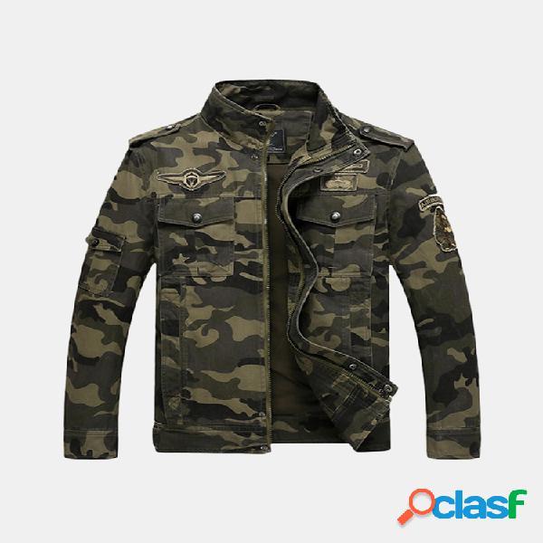 Jaqueta militar solta masculina de algodão camuflagem estampada