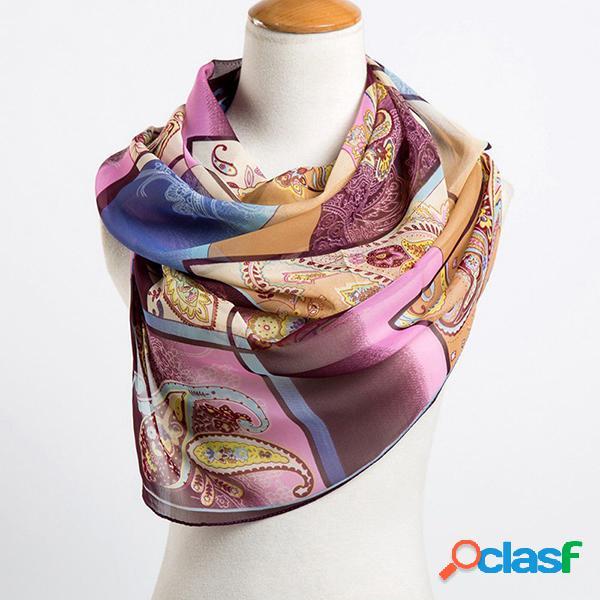Mulheres lenço de seda chiffon xales impressão geométrica fina poliéster longo lenços foulard mulheres
