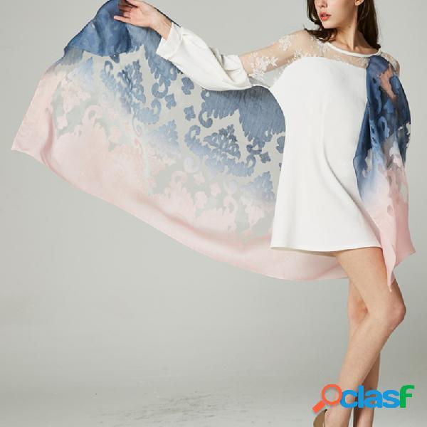Mulheres lenço de seda scarve gradiente longo casual warm toalha multifunction shawl