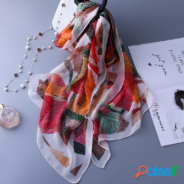 Lenço e lenço abstratos à prova de vento do teste padrão da proteção uv respirável macia da seda da natureza das mulheres