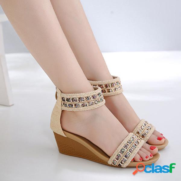 Big size mulheres bohemia lantejoulas zipper cunhas sandálias de salto