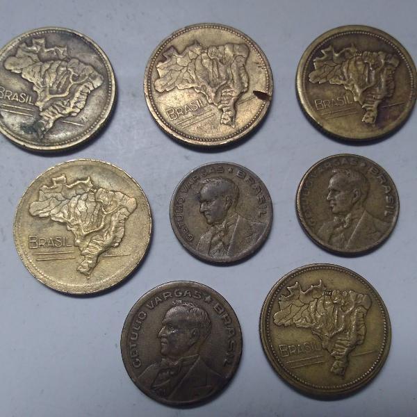 8 moedas antigas brasil + brinde