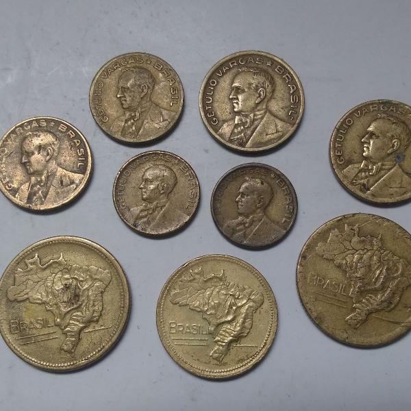 9 moedas antigas brasil + brinde