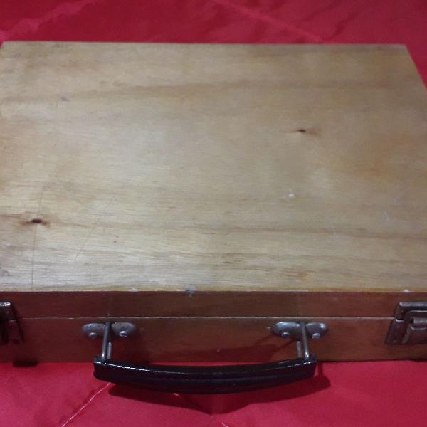 Caixa maleta organizadora de madeira