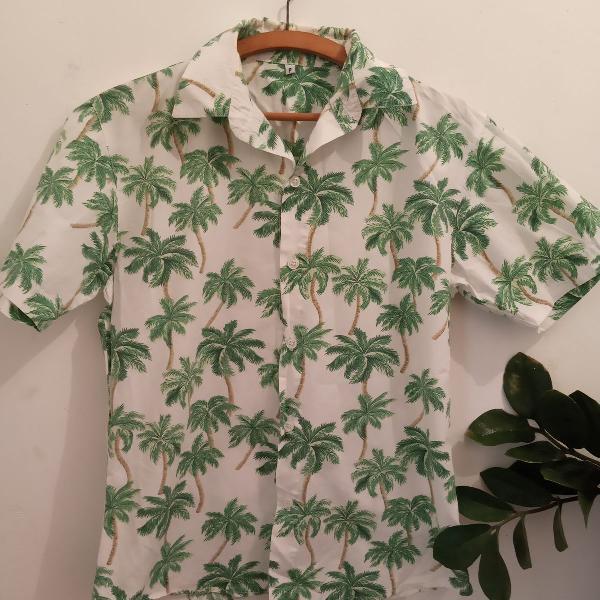 Camisa de botão estampa coqueiro - branco e verde