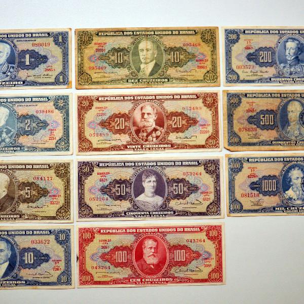 Coleção com 11 cédulas de cruzeiros da década de 1940