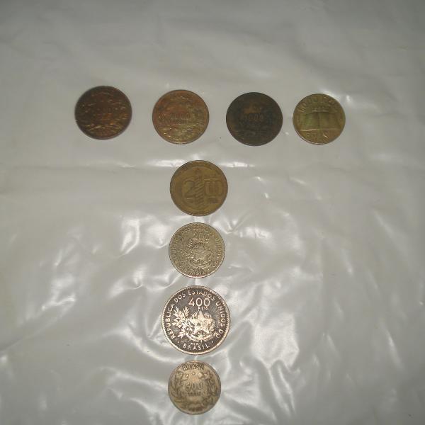 Lote de moedas antigas réis do brasil
