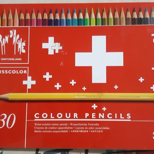 Lápis de cor aquarelável, caran d'ache, 30 (28 cores)