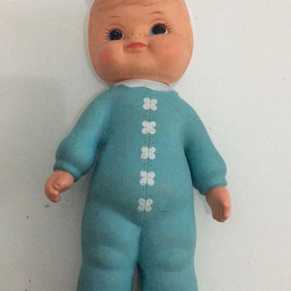 Boneca dadinha vintage azul branca vinil anos 70