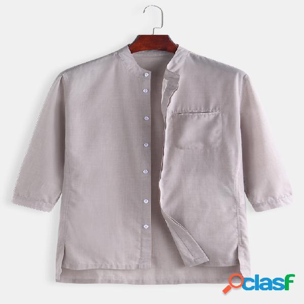 Camisas masculinas de linho de algodão manga três quartos casuais finas camisas de gola mandarim