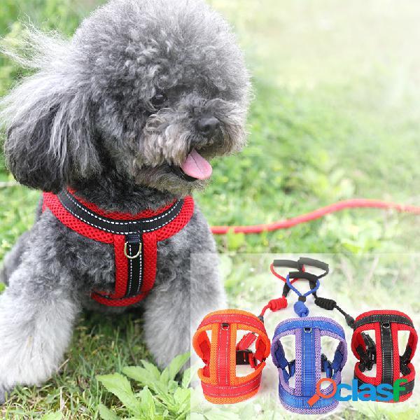 Novo pet cachorro gato malha respirável confortável cinta de tração corda ajustável corda fivela cachorro cadeia
