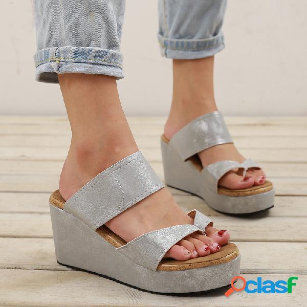 Big size mulheres casual cor sólida clipe toe deslize cunhas sandálias
