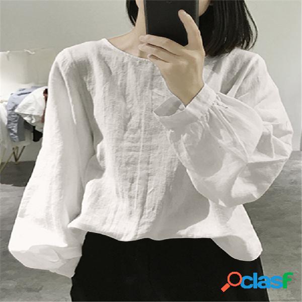 Blusa solta de manga comprida lisa cor sólida vintage