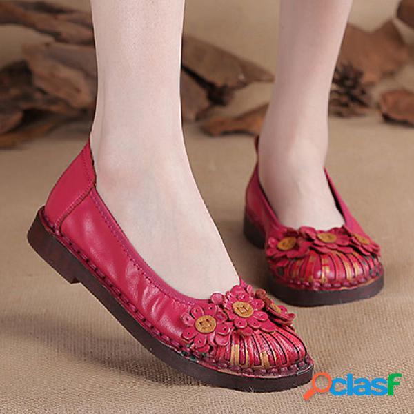 Couro genuíno costura artesanal retro antiderrapante sapatos baixos