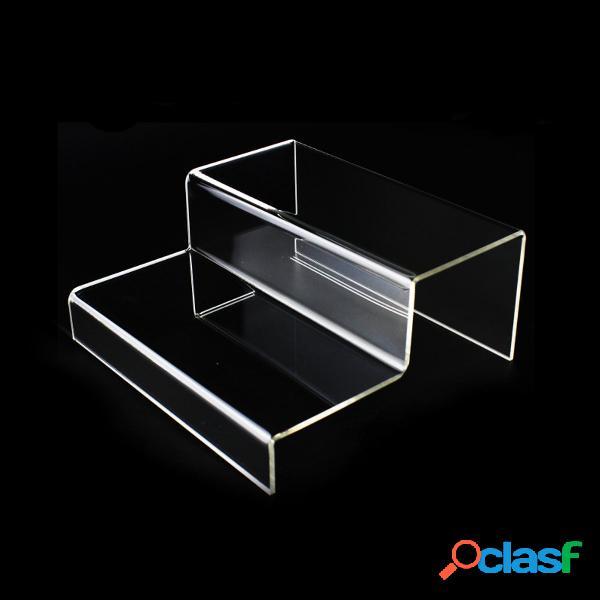 Expositor de acrílico de 2 níveis e suporte para joalheria vitrine do balcão de varejo