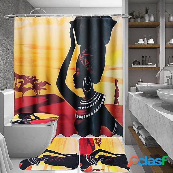 Menina africana banheiro à prova d 'água cortina de chuveiro conjunto de tapete de tapete antiderrapante