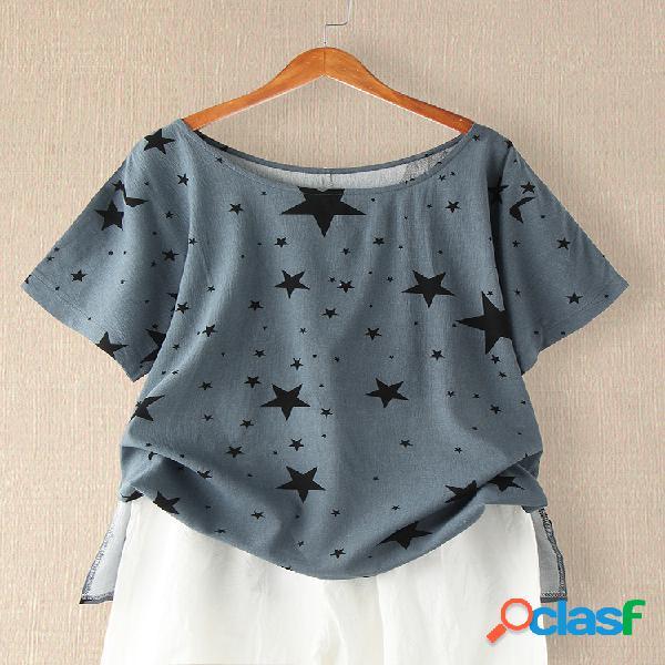 Camiseta estampada com estrelas de manga curta com decote em o para mulheres
