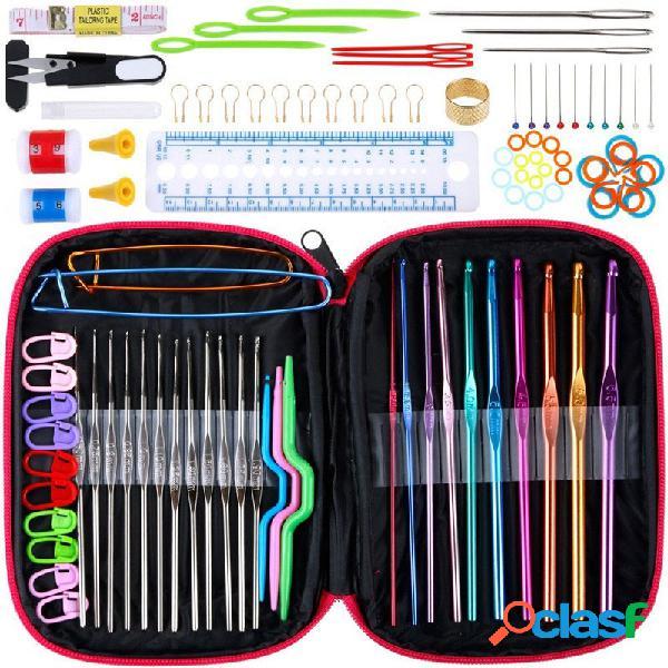 100 pcs ganchos de crochê conjunto completo ferramenta de tricô acessórios agulhas de tricô ferramentas de costura kit de artesanato com couro caso