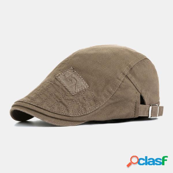 Bordado masculino padrão viseira exterior de algodão moda repicado chapéu boina chapéu