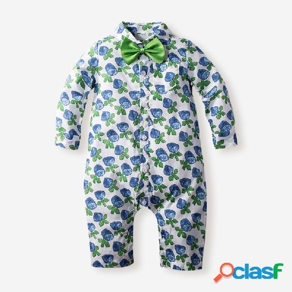 Macacão de mangas compridas com estampa floral de bebê para bebê de 6 a 24 anos