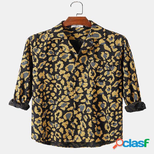 Camisa de manga longa masculina com estampa floral abstrata lapela revere colarinho