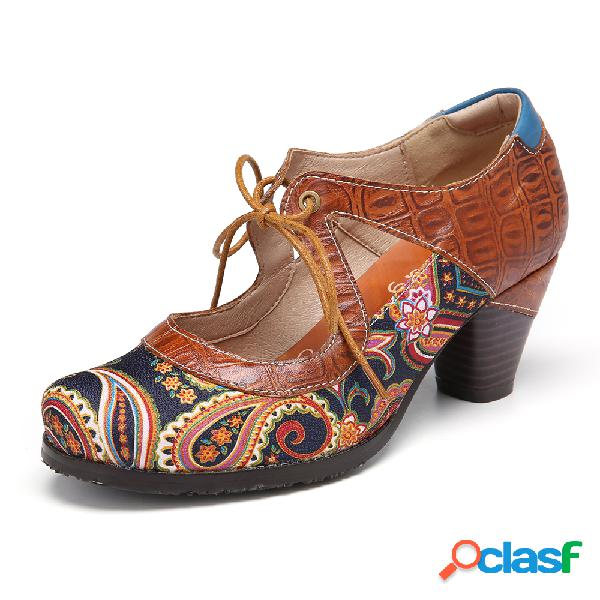 Socofy vintage paisley splicing leather cutout lace up chunky heel bombas
