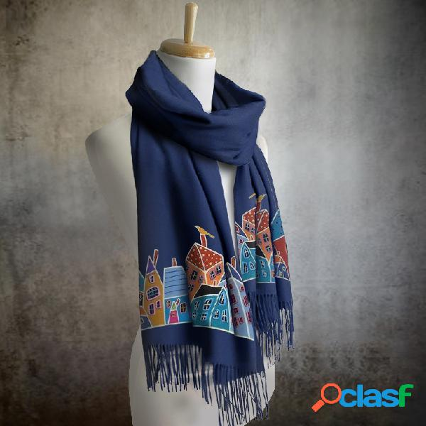 Lenço longo feminino impressão em cores sólidas padrão lenço longo lenço de linho envoltório multifuncional elegante pescoço envoltório lenço quente