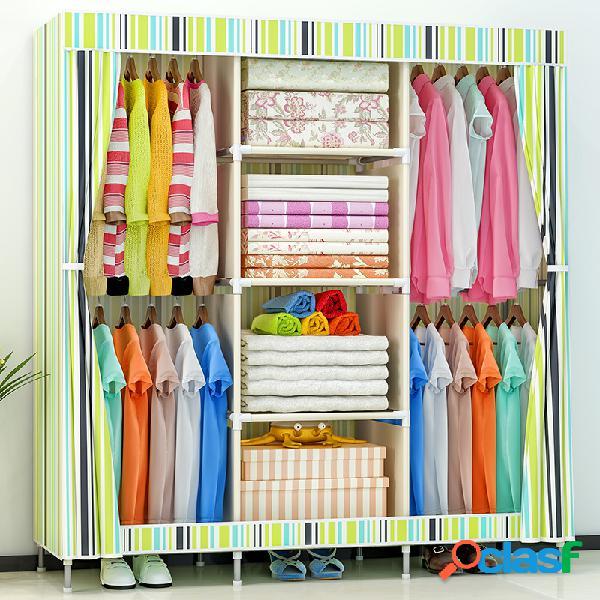 """armário de armazenamento de tecido largo de 69 """"com prateleiras de roupas suspensas armário de armazenamento"""