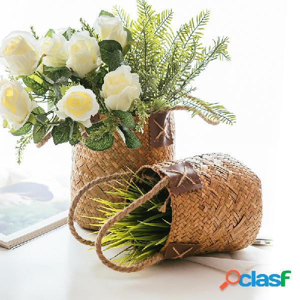 Cesta de flores tecida de ervas marinhas cesta de armazenamento decoração de mesa balde de arranjos de flores cesta de artigos diversos cesta redonda de tecido à mão