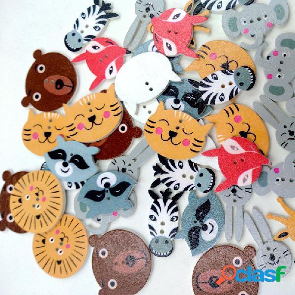 50 pcs de várias cores de madeira botões bonito padrão animais botões de costura decoração artesanato