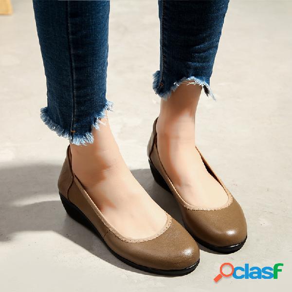 Couro de cor pura artesanal cunhas sapatos casuais