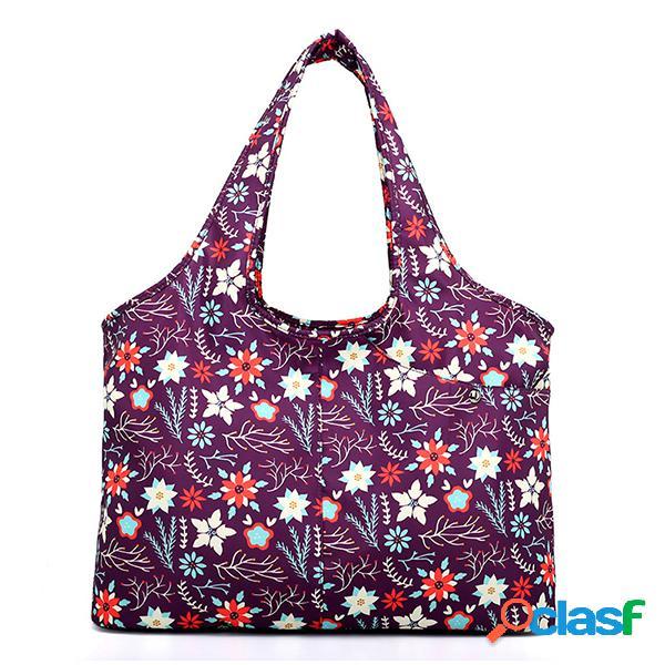 Mulheres national print nylon ombro impermeável de grande capacidade para bolsa bolsa